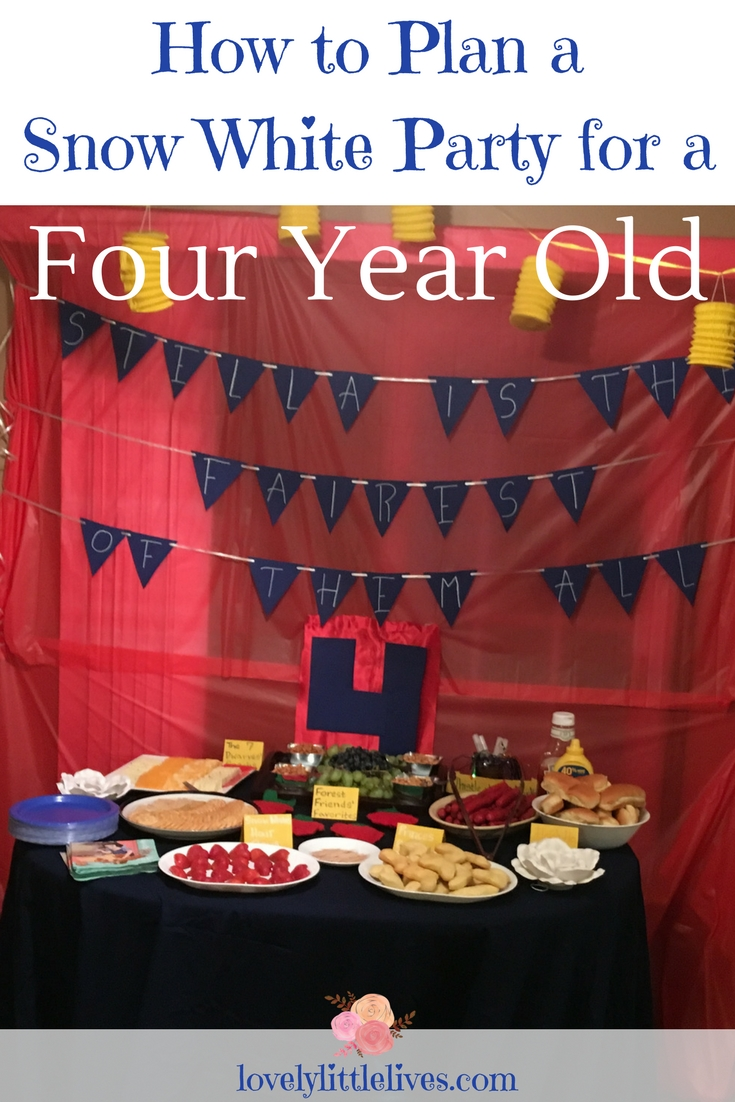 How to Plan a Snow White Party for Four Year Old | Snow White Party Food. | Snow White Birthday Party | Snow White Party Ideas | Snow White Birthday Party for a four year old | #snowwhite #princessbirthdayparty #snowwhitebirthdayparty