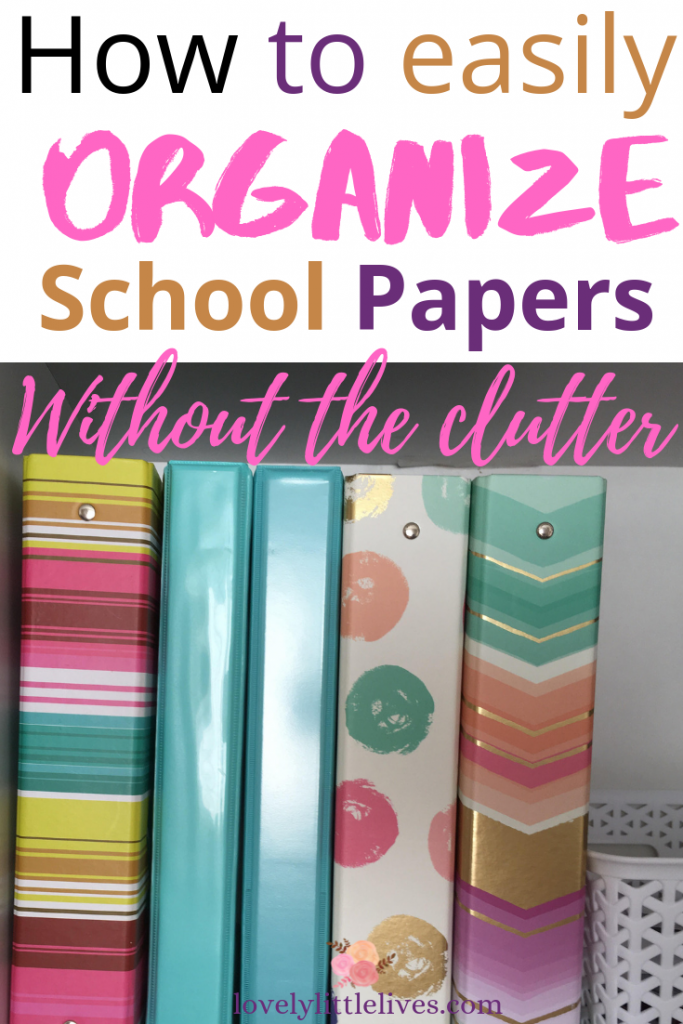 How to organize school papers and keepsakes without the clutter. Learn how to sort and file your kid's school papers in an easy and systematic way.